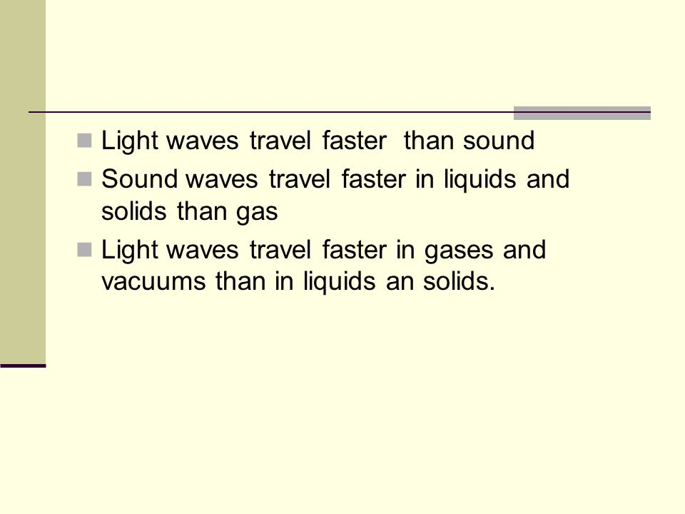 Light waves travel faster than sound