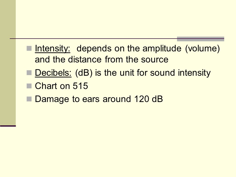 Intensity: depends on the amplitude (volume) and the distance from the source
