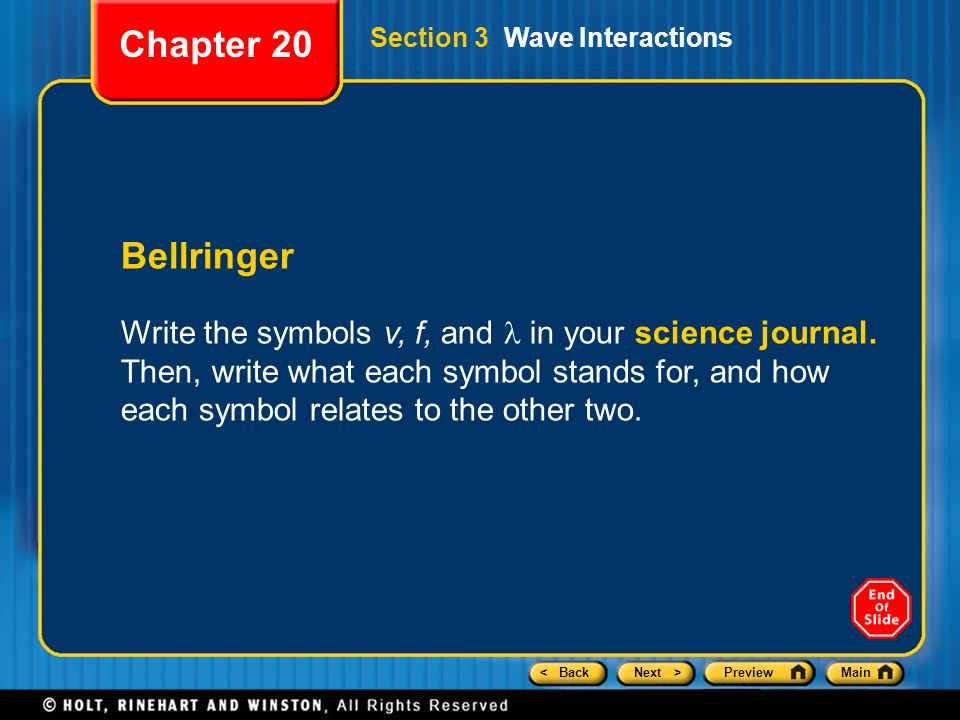 Chapter 20 Preview Section 1 The Nature Of Waves Ppt Video Online