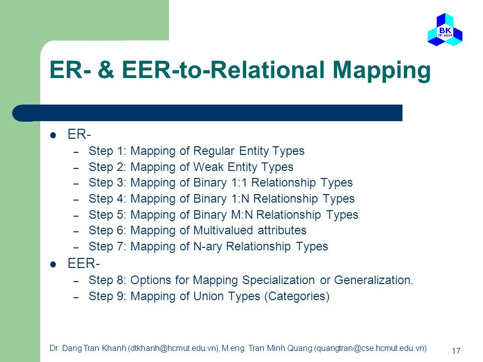 ER- & EER-to-Relational Mapping