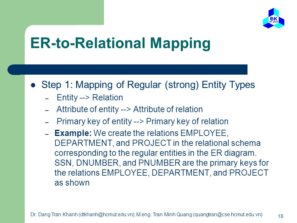 ER-to-Relational Mapping
