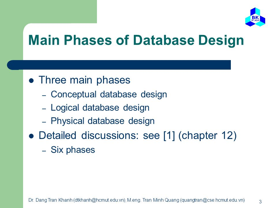 Main Phases of Database Design