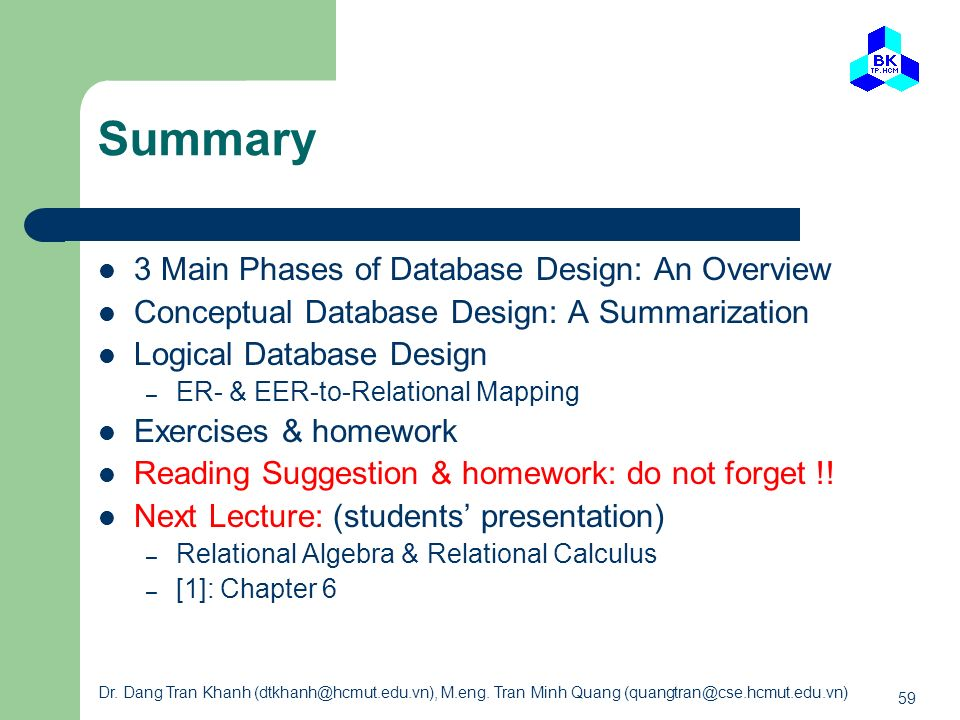 Summary 3 Main Phases of Database Design: An Overview