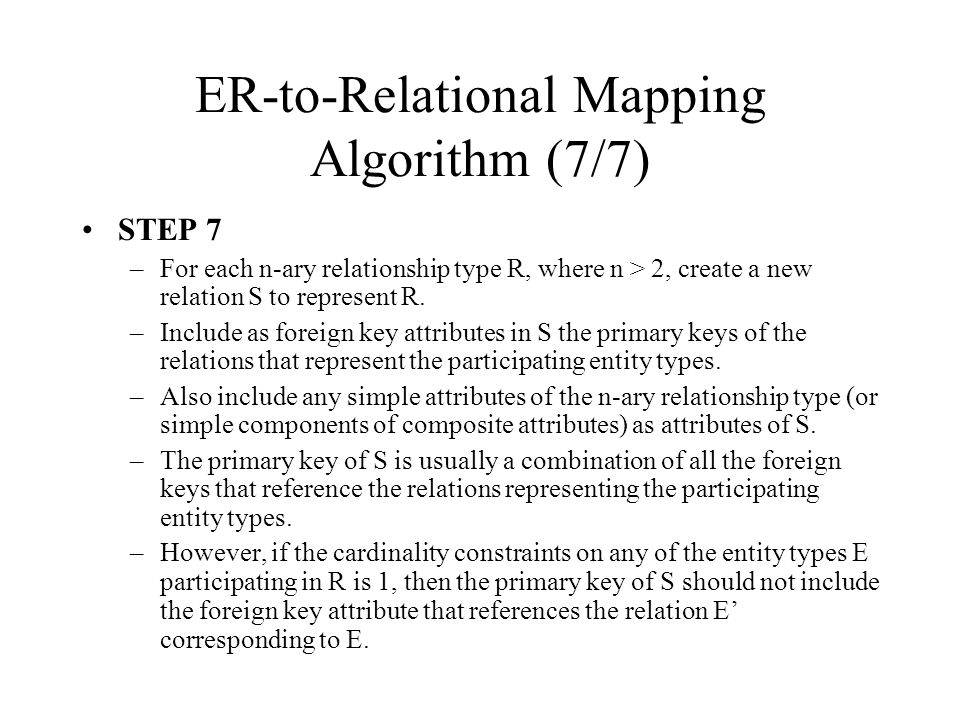 ER-to-Relational Mapping Algorithm (7/7)