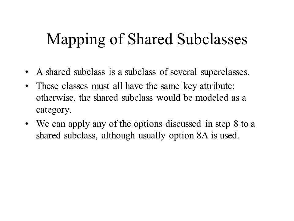 Mapping of Shared Subclasses