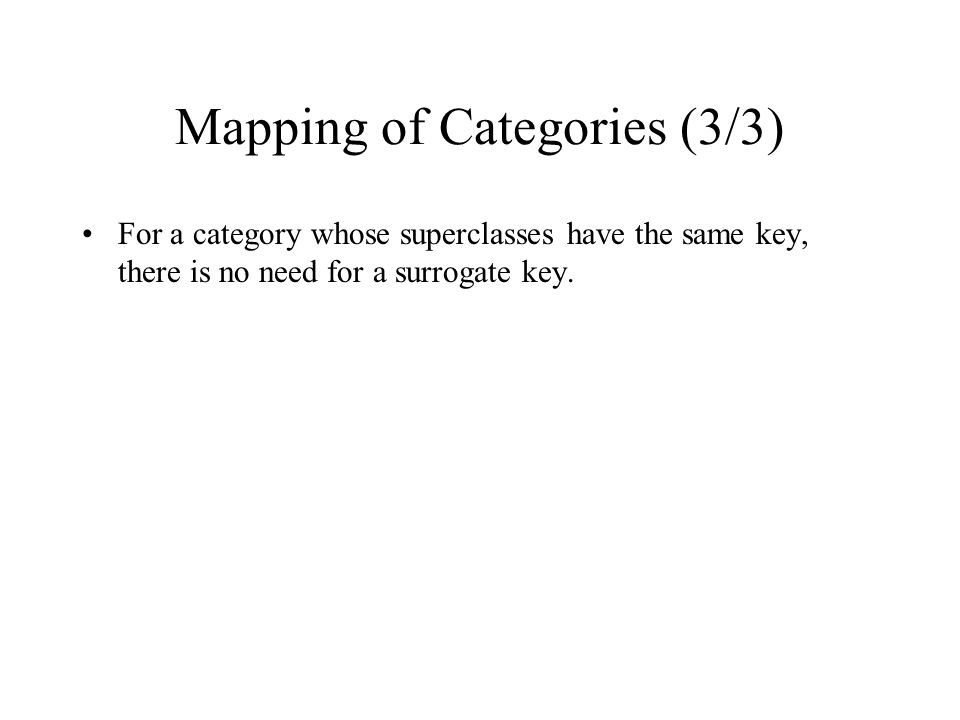 Mapping of Categories (3/3)