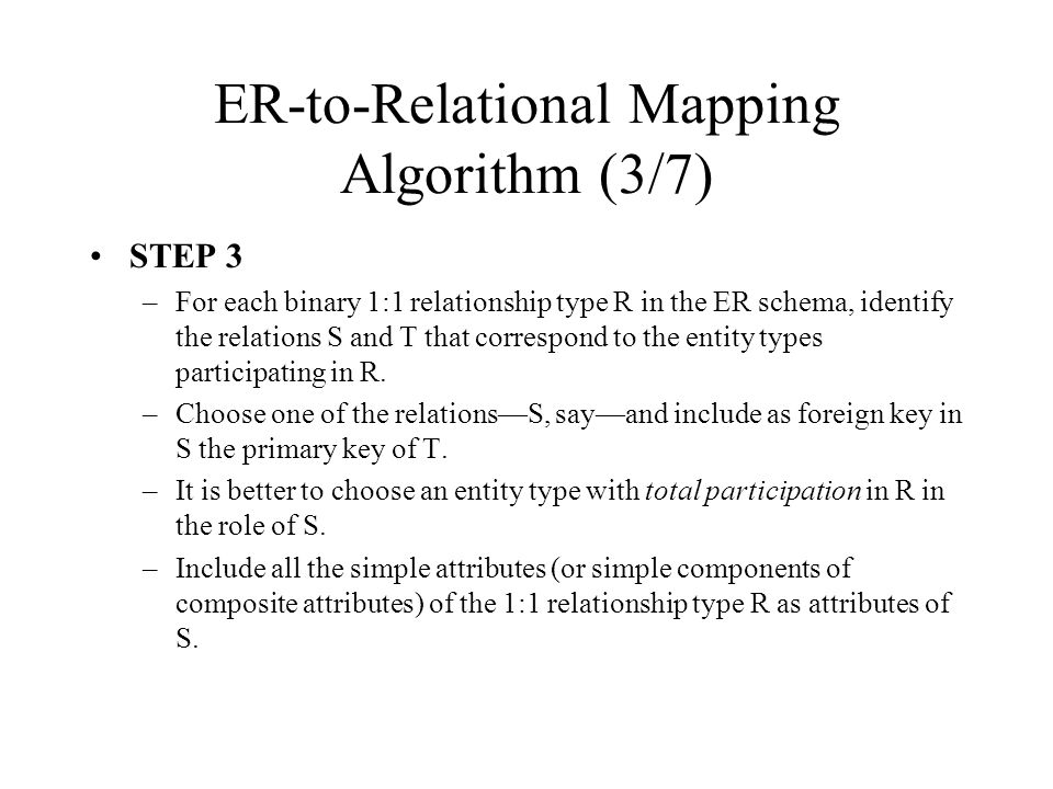 ER-to-Relational Mapping Algorithm (3/7)
