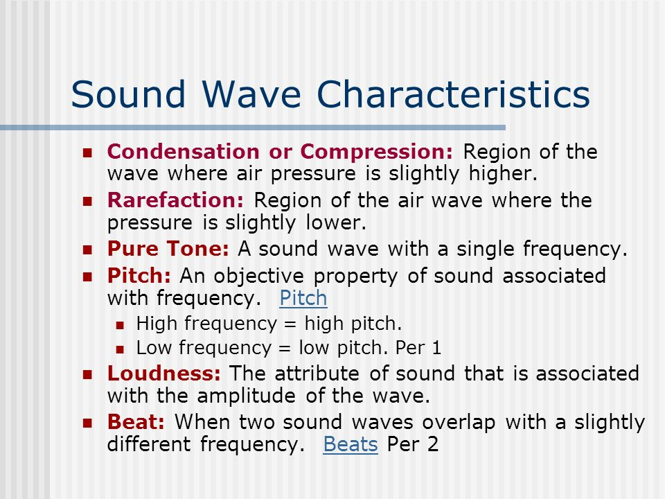 different characteristics of sound waves