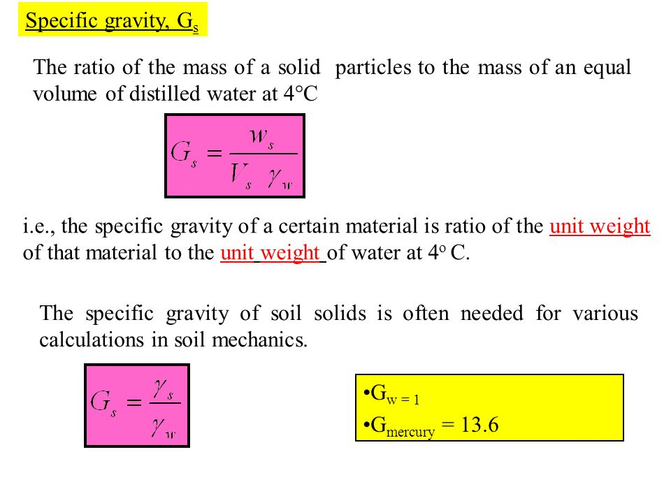 Specific gravity, Gs The ratio of the mass of a solid particles to the mass of an equal volume of distilled water at 4°C.