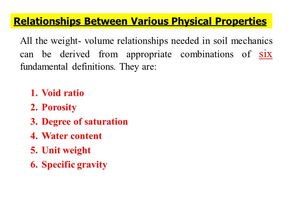Relationships Between Various Physical Properties