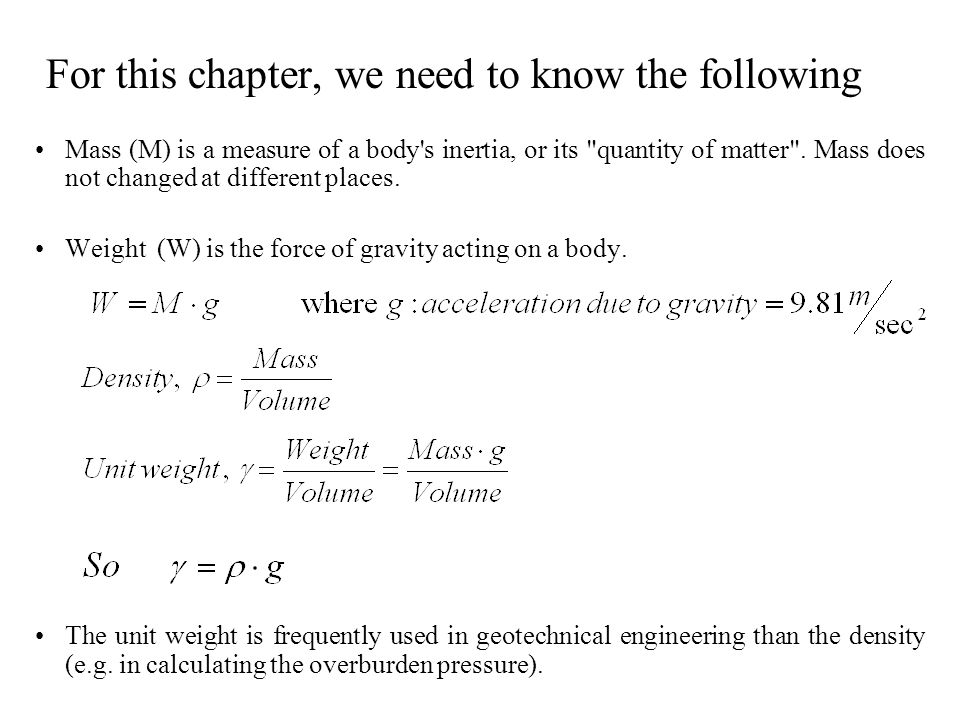 For this chapter, we need to know the following