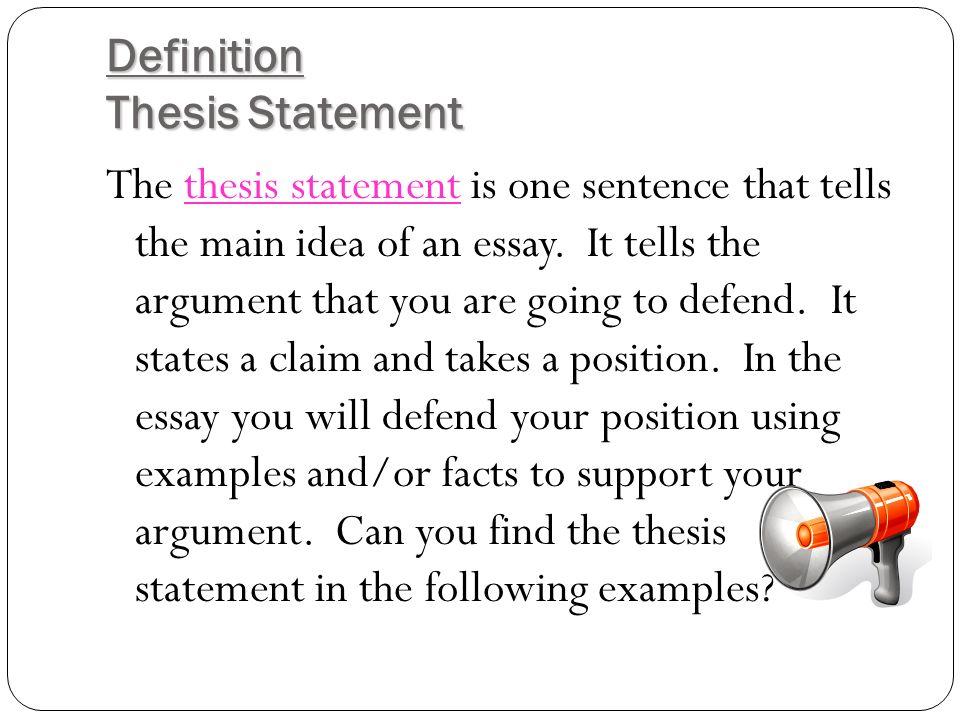 thesis argument definition
