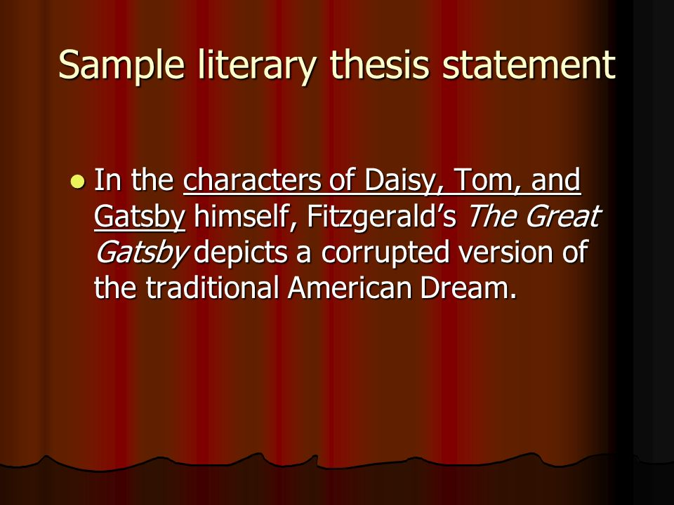 Sample literary thesis statement
