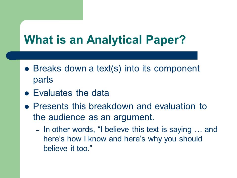 What is an Analytical Paper