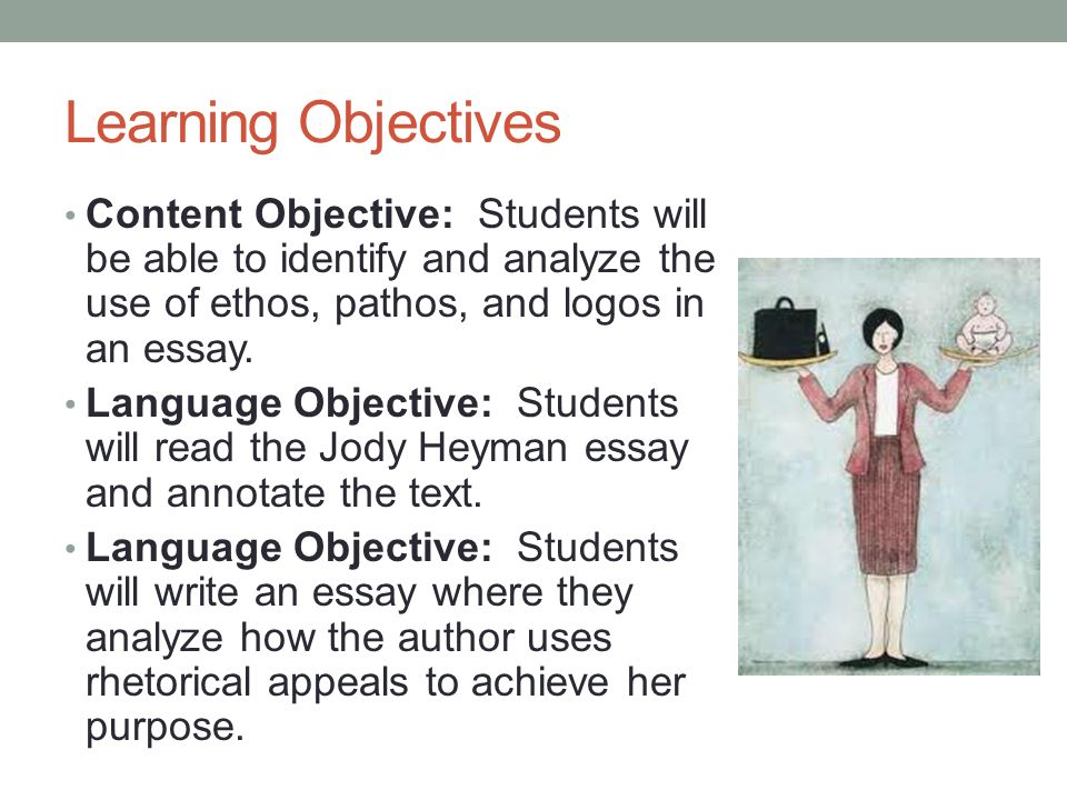 Learning Objectives Content Objective: Students will be able to identify and analyze the use of ethos, pathos, and logos in an essay.