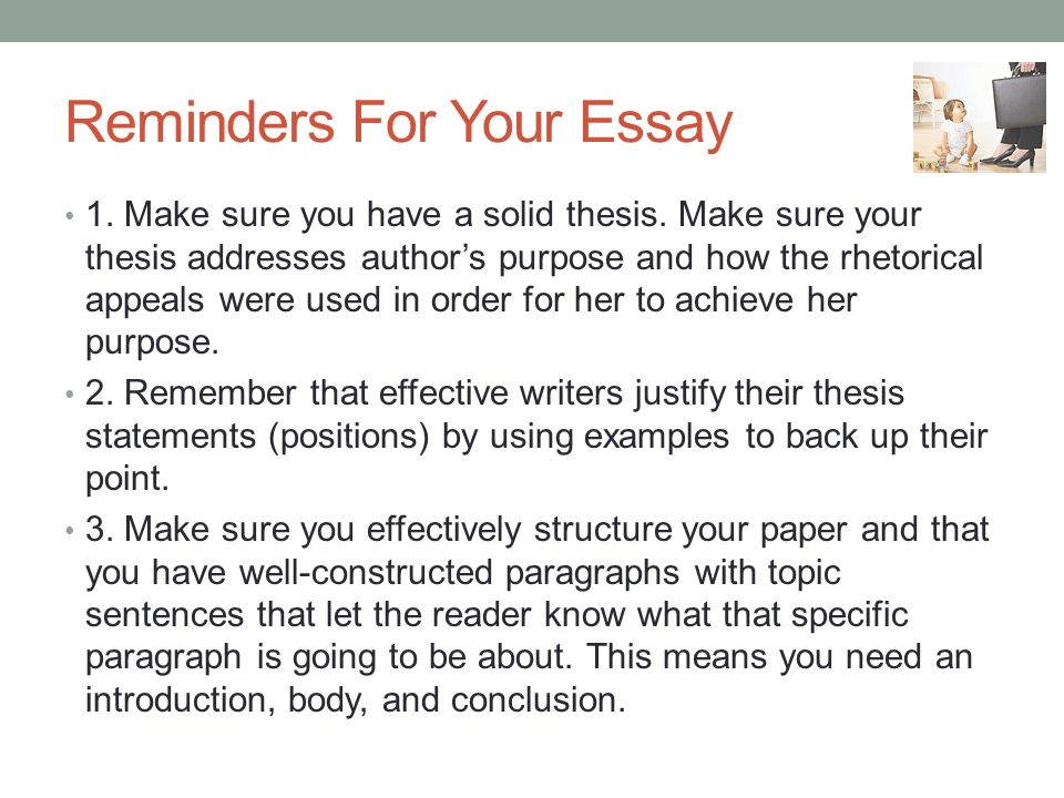 Reminders For Your Essay