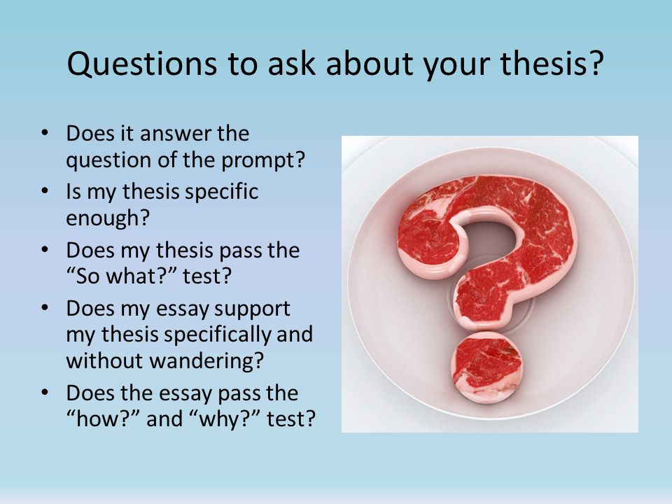 Questions to ask about your thesis