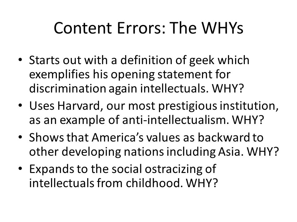 Content Errors: The WHYs