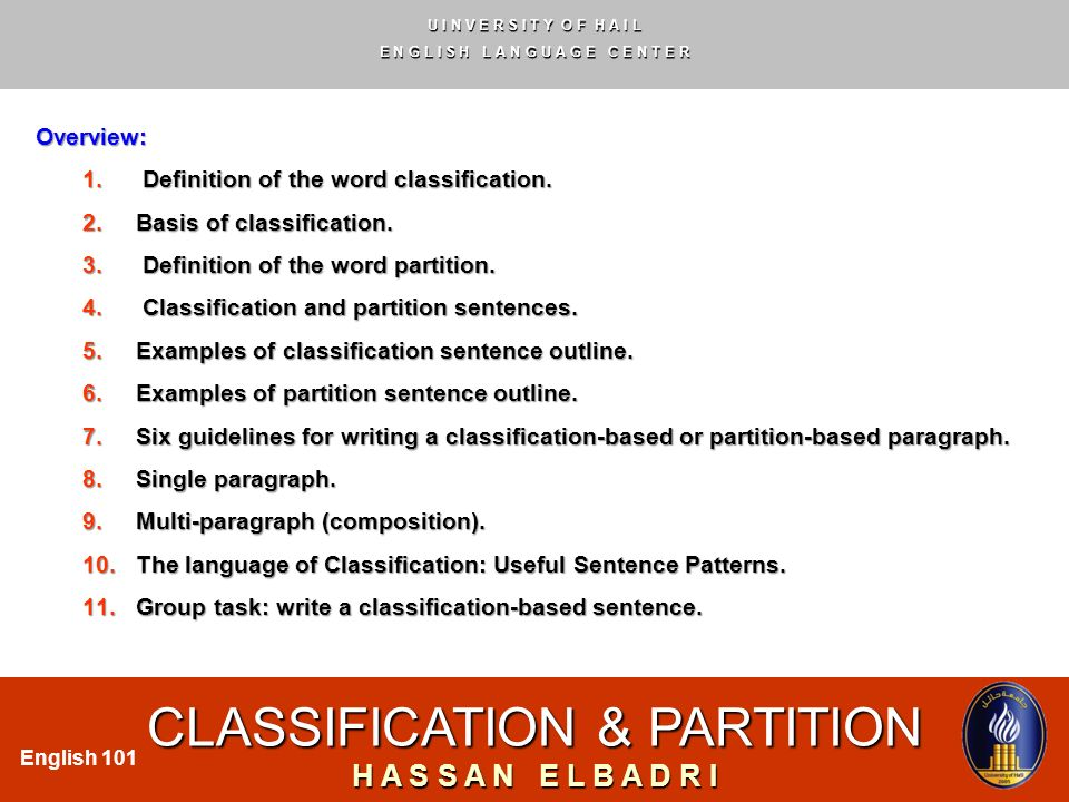how to write a classification paragraph