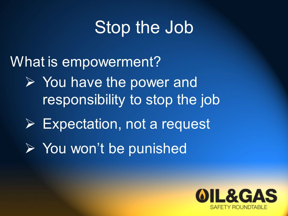 Stop the Job What is empowerment