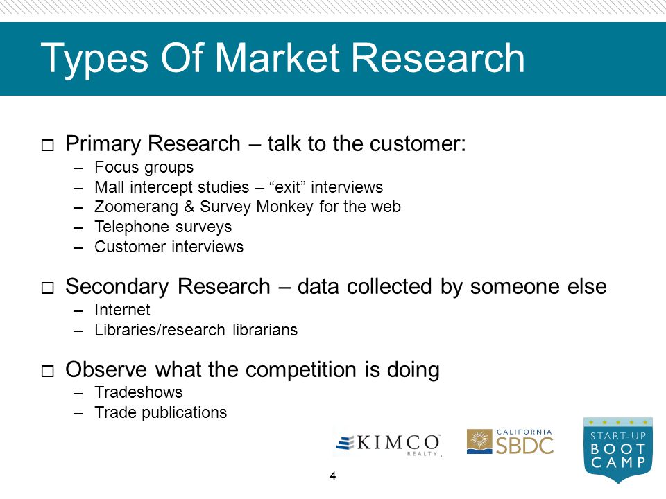 types of market research Basic types of market research for your business various business research companies use different types of tools, techniques and methods for marketing analysis these methods and types vastly depend on the particular requirements of the business owners and their research project.