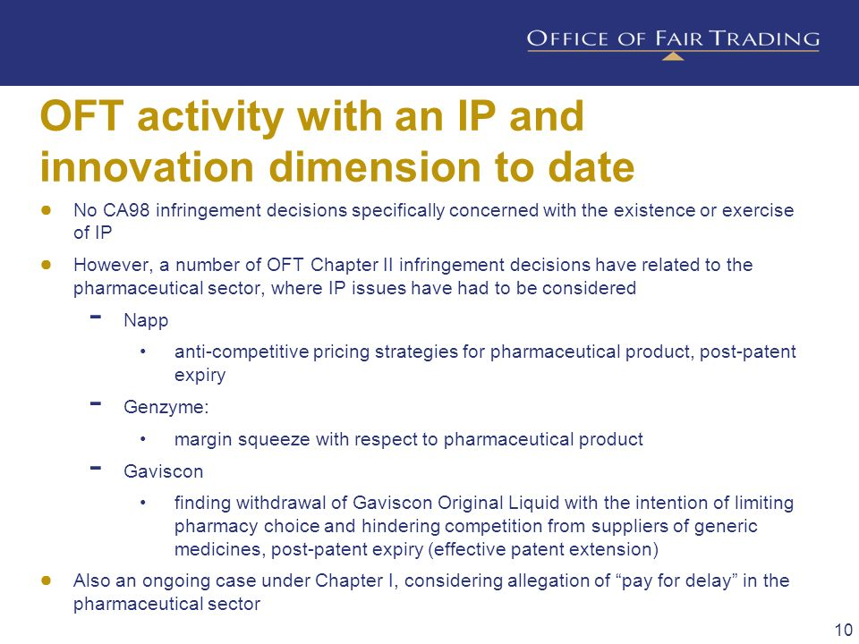 OFT activity with an IP and innovation dimension to date