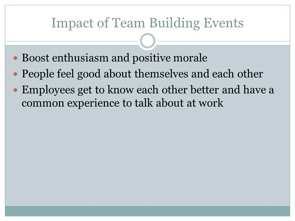 Impact of Team Building Events