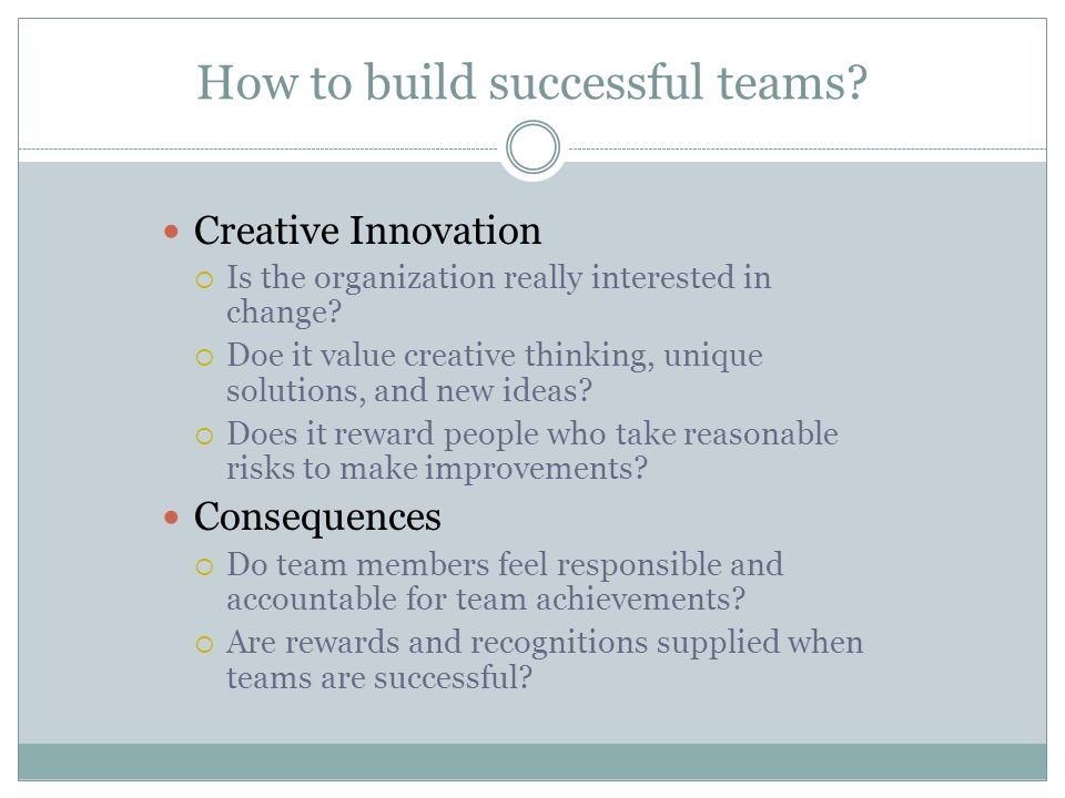How to build successful teams