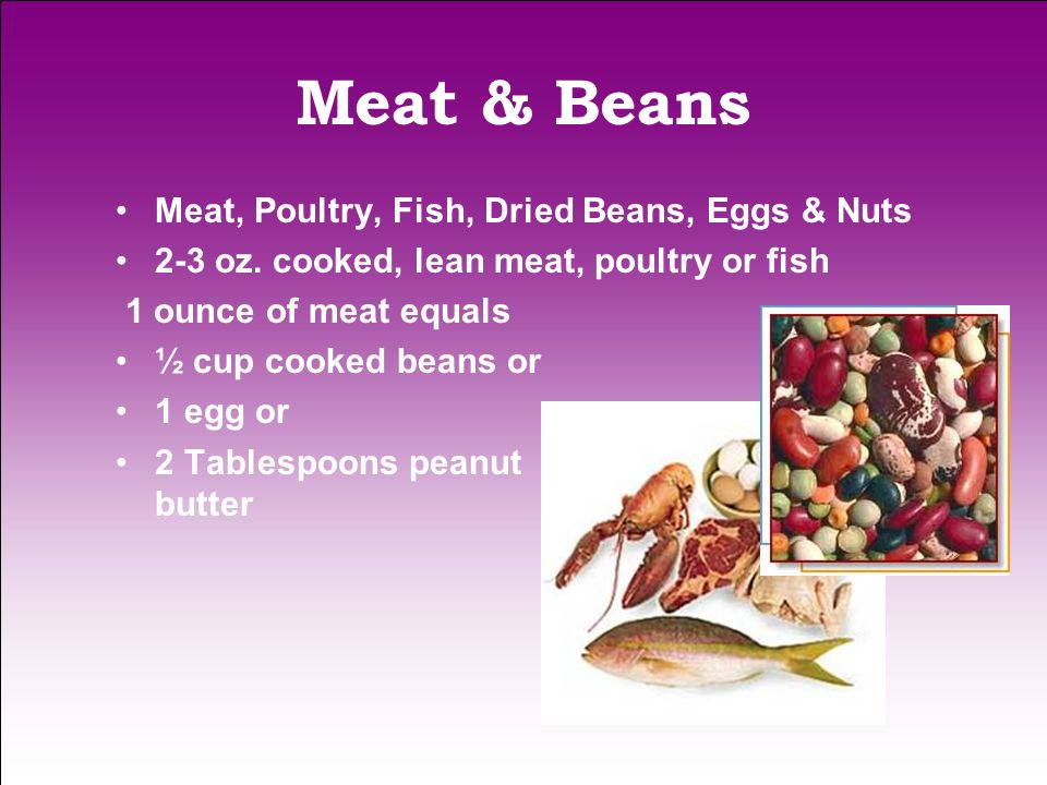 Meat & Beans Meat, Poultry, Fish, Dried Beans, Eggs & Nuts