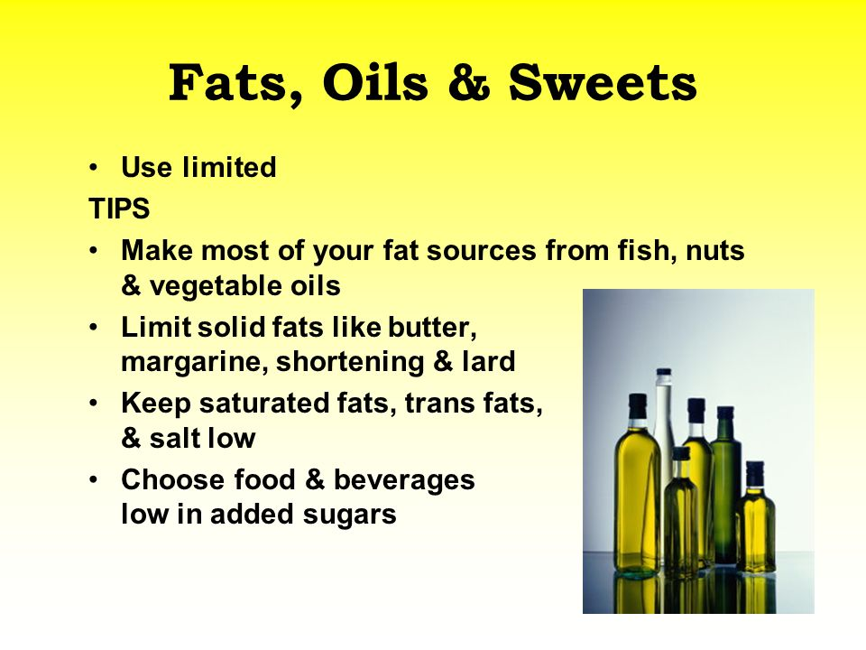 Fats, Oils & Sweets Use limited TIPS