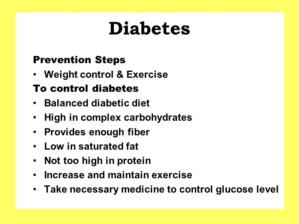 Diabetes Prevention Steps Weight control & Exercise