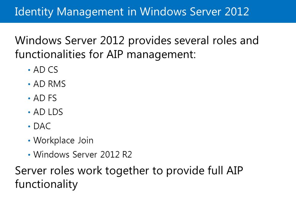 Identity Management in Windows Server 2012