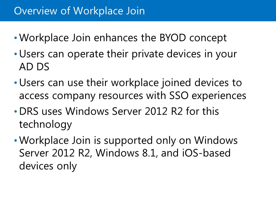 Overview of Workplace Join