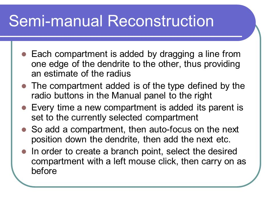 Semi-manual Reconstruction