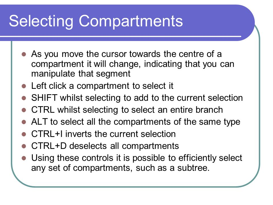 Selecting Compartments