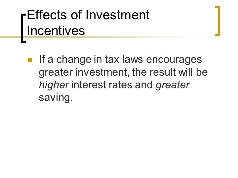 Effects of Investment Incentives