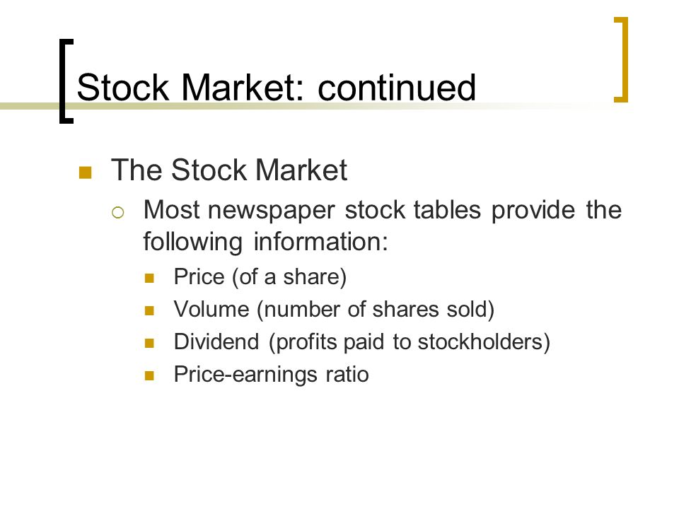 Stock Market: continued