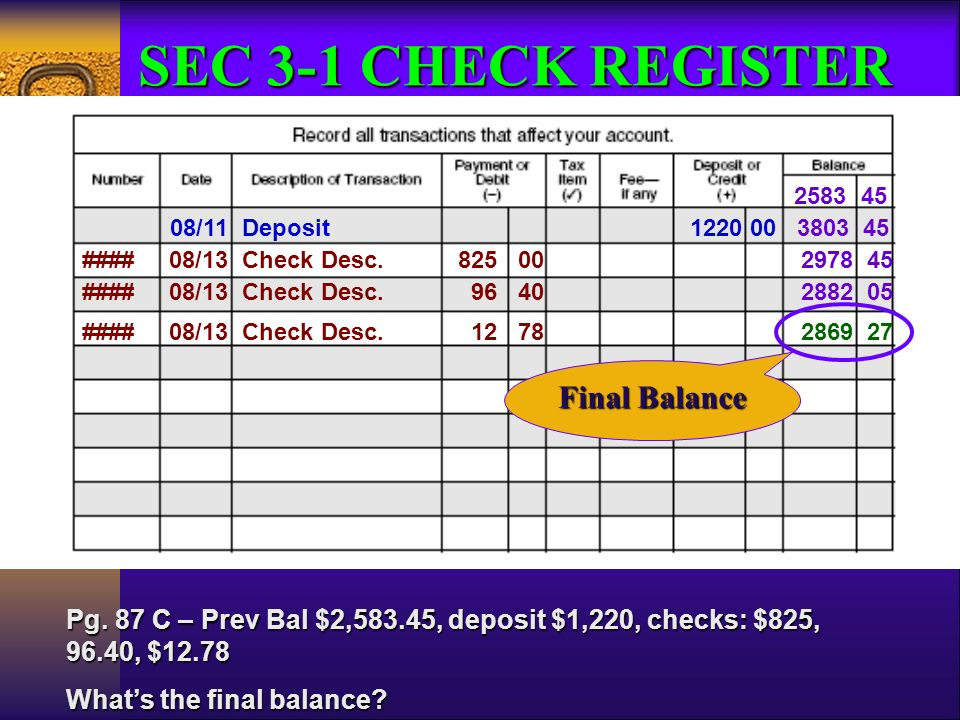 prepare a deposit slip record entries in a check register ppt download