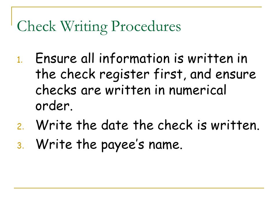 Check Writing Procedures