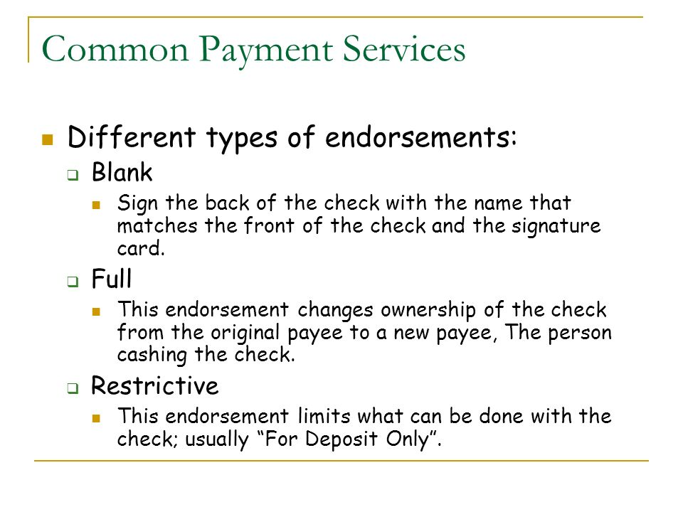 Common Payment Services