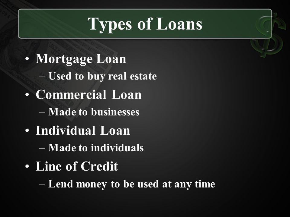 Types of Loans Mortgage Loan Commercial Loan Individual Loan