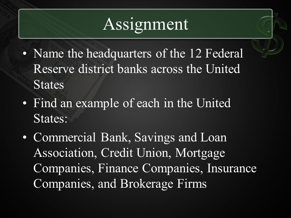 Assignment Name the headquarters of the 12 Federal Reserve district banks across the United States.