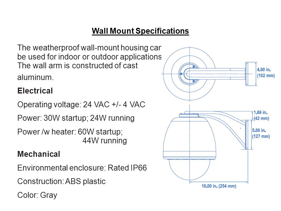 Wall Mount Specifications
