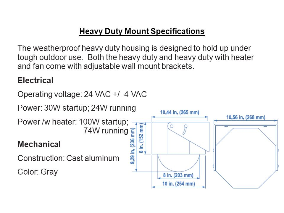 Heavy Duty Mount Specifications