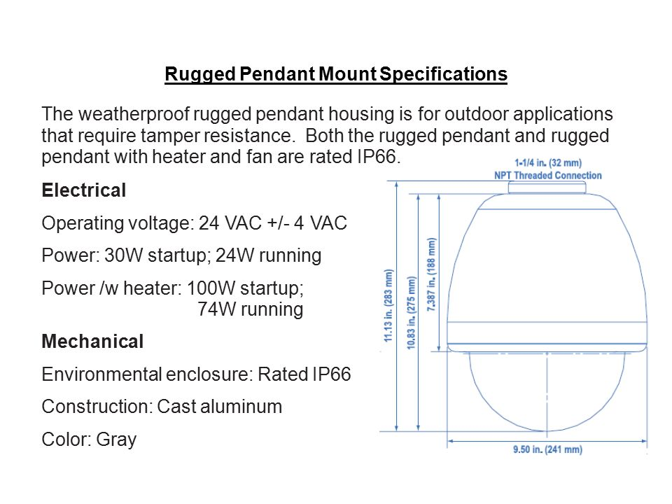 Rugged Pendant Mount Specifications