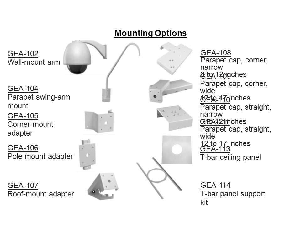 Mounting Options GEA-102 Wall-mount arm