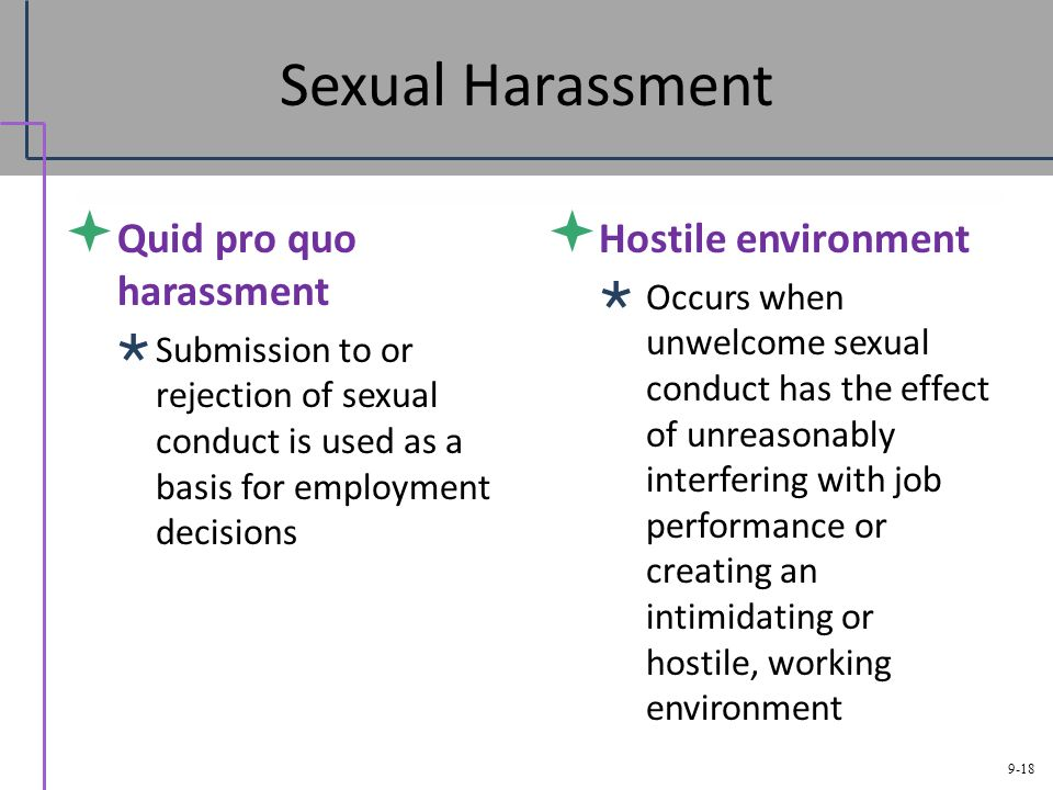 Define quid pro quo and hostile work environment sexual harassment