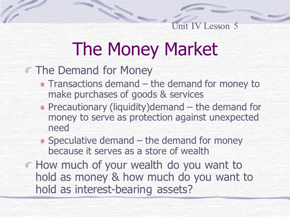 The Money Market The Demand for Money