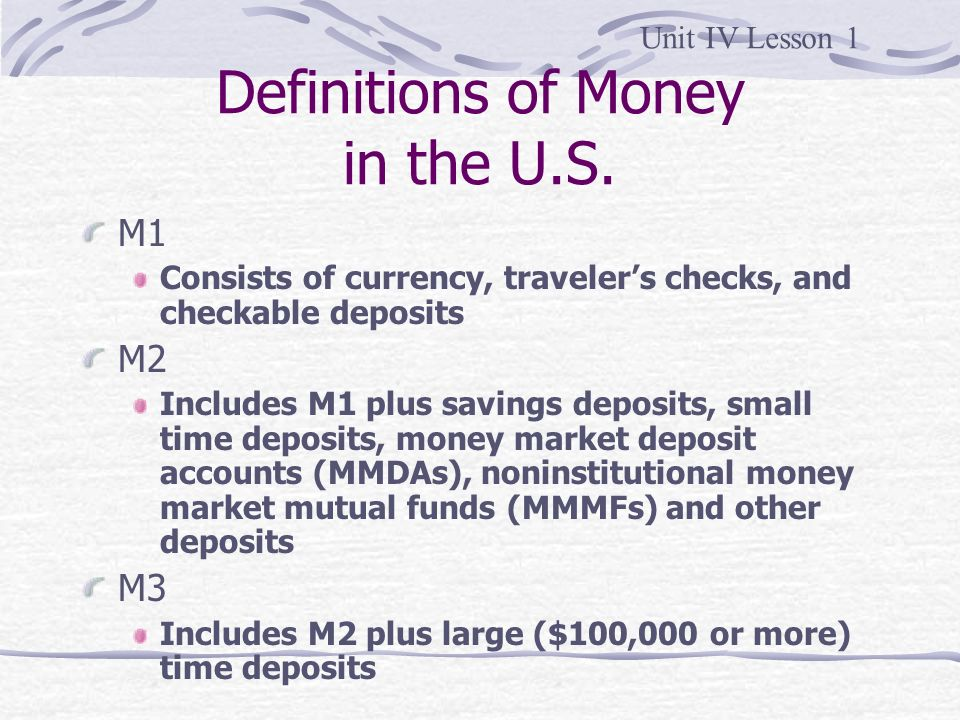 Definitions of Money in the U.S.