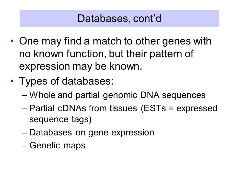 Databases, cont'd One may find a match to other genes with no known function, but their pattern of expression may be known.